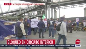 FOTO: Policías federales bloquean Circuito Interior hacia el AICM