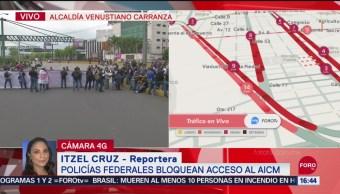 FOTO: Policías Federales Mantienen Bloqueado Acceso AICM
