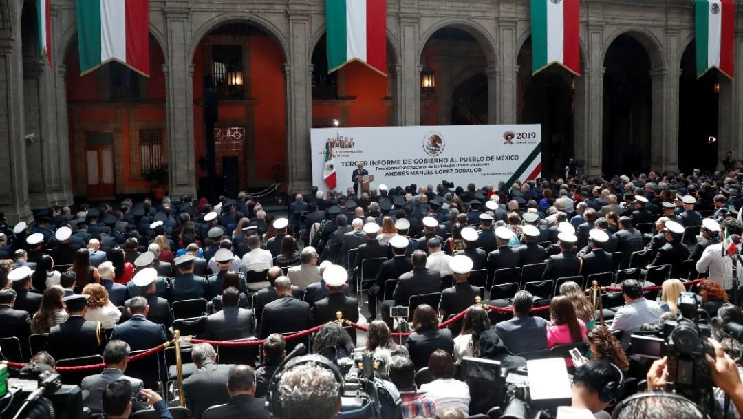 Foto: El presidente Andrés Manuel López Obrador durante su Primer Informe de Gobierno en Palacio Nacional, el 1 de septiembre de 2019 (Reuters)