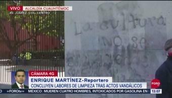 FOTO: Reabren comercios tras actos vandálicos durante marcha Ayotzinapa, 27 septiembre 2019