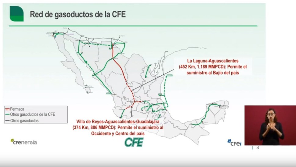 Foto: Red de gasoductos de México, 11 de septiembre de 2019