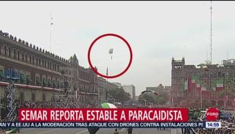 FOTO: Reportan fuera de peligro a paracaidista accidentado en desfile militar, 16 septiembre 2019