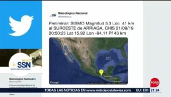 Foto: Sismo Chiapas Hoy Magnitud 5.3 21 Septiembre 2019
