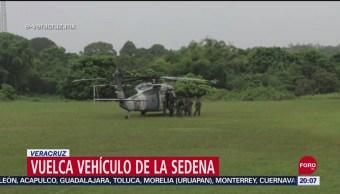 FOTO:Seis heridos tras volcadura de vehículo del Ejército en Veracruz, 14 septiembre 2019