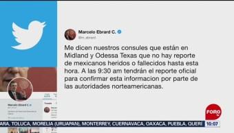 FOTO: Sin reporte de mexicanos entre víctimas por tiroteo en Texas: Ebrard, 1 septiembre 2019