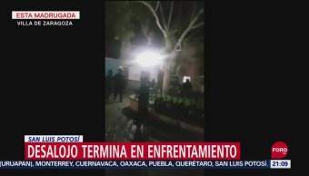 FOTO: Termina en balacera intento de desalojo en Alcaldía de SLP, 14 septiembre 2019