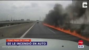 Todo Pasa En China: Se le incendió en auto