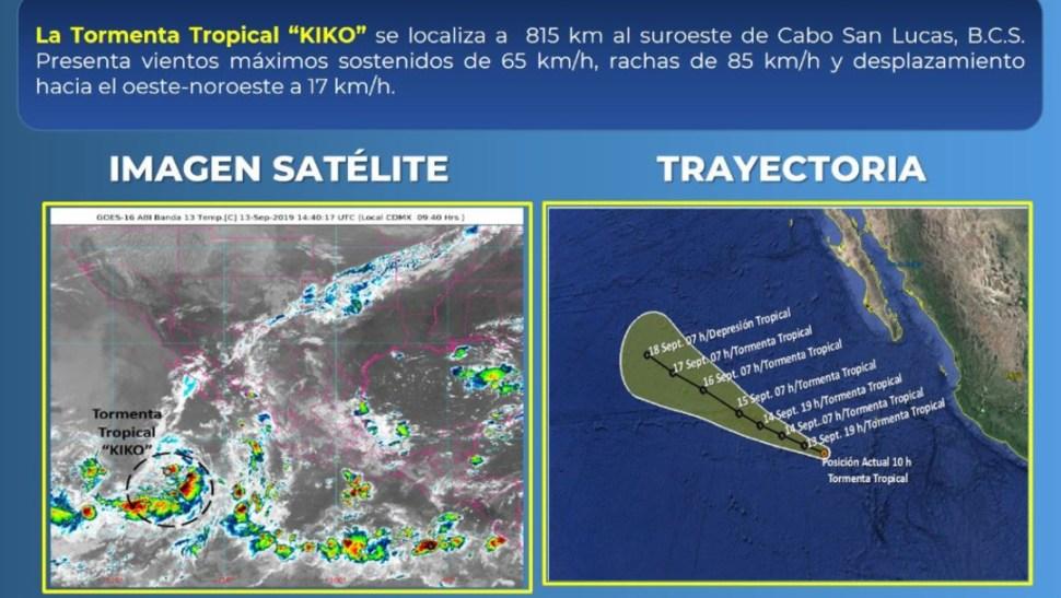 Foto: La tormenta tropical Kiko se encuentra al 815 km al suroeste de Cabo San Lucas, 13 septiembre 2019