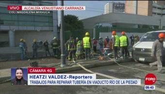 Trabajan para reparar fuga de gas en la Venustiano Carranza