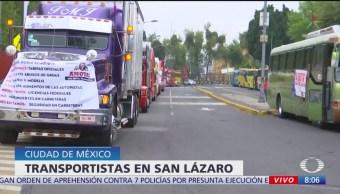 Transportistas se concentran en San Lázaro por mejores condiciones de seguridad