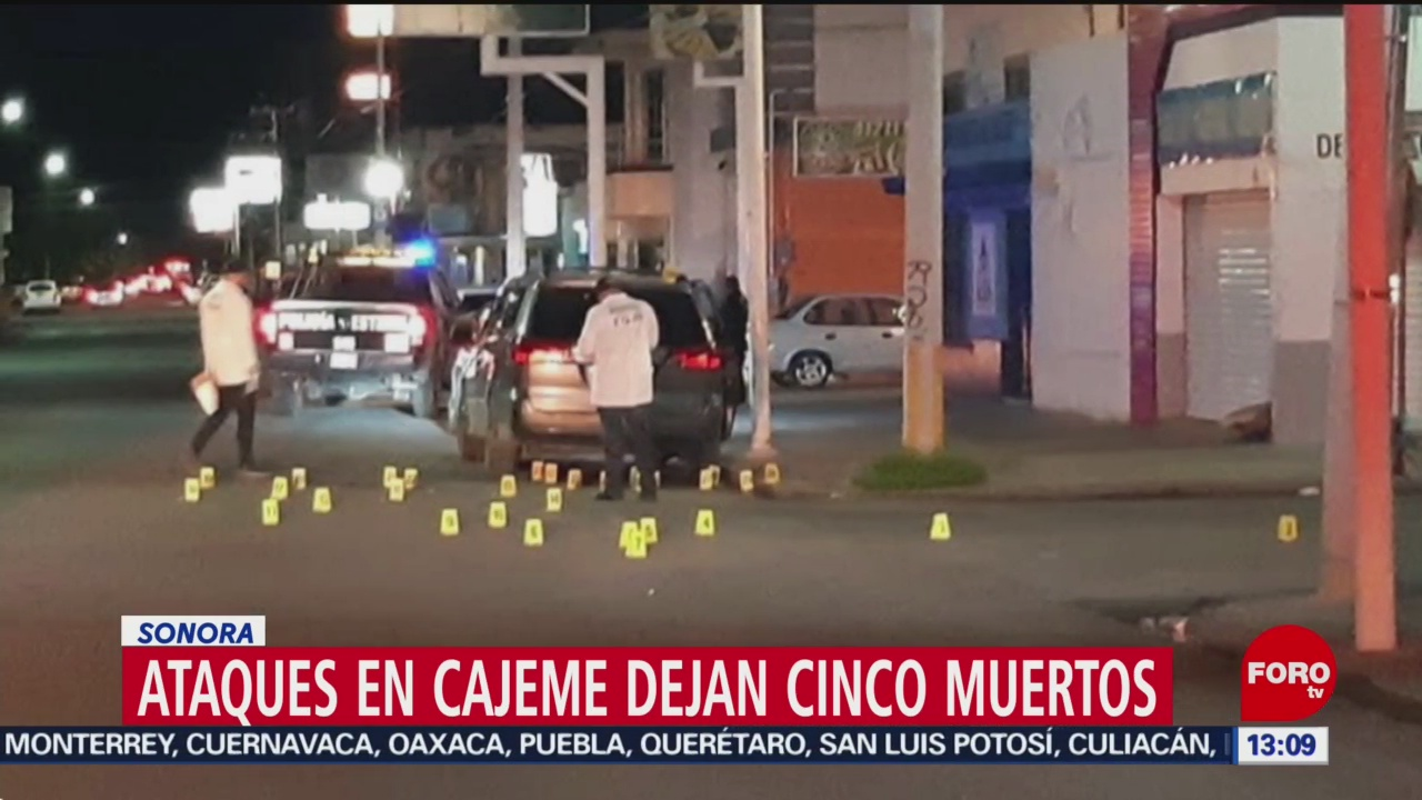 FOTO: Tres muertos tras cinco ataques armados en Cajeme, Sonora,8 septiembre 2019