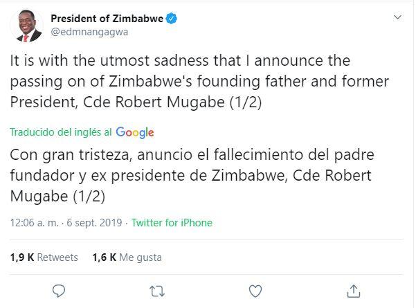 Muere Robert Mugabe, expresidente de Zimbabue, a los 95 años de edad