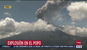 Volcán Popcatépetl registra exhalación de vapor de agua, gas y ceniza