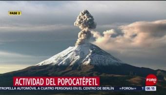 FOTO: Volcán Popocatépetl registra fumarola este domingo, 8 septiembre 2019