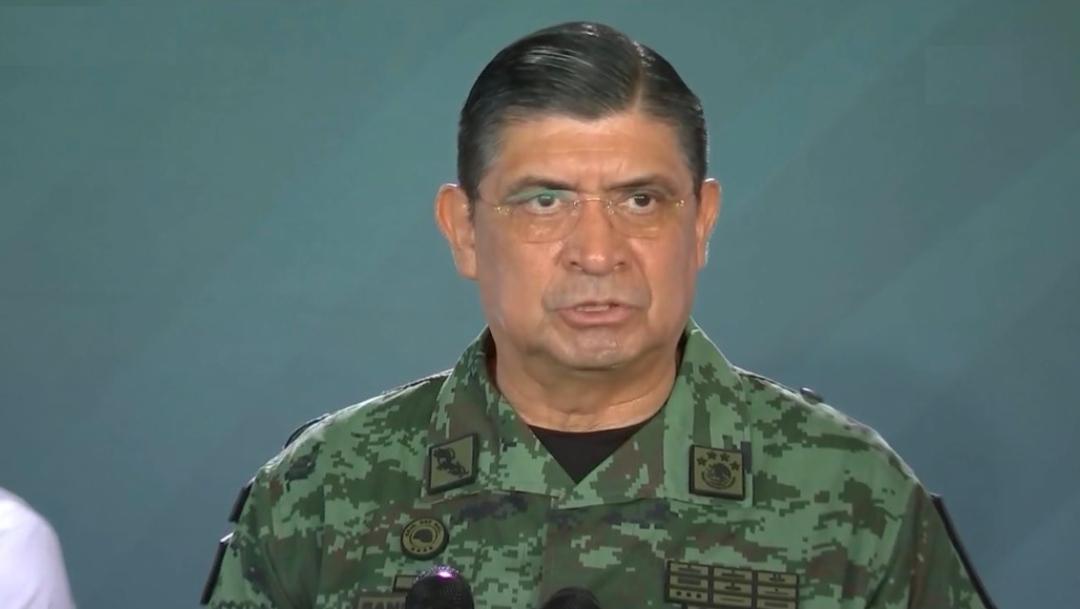 El secretario de la Defensa Nacional, Luis Cresencio Sandoval González,, ofrece una conferencia d prensa sobre seguridad en Yucatán, 20 septiembre 2019