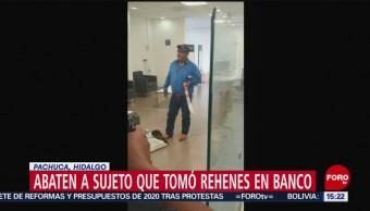 FOTO: Abaten sujeto que tomó rehenes banco Pachuca