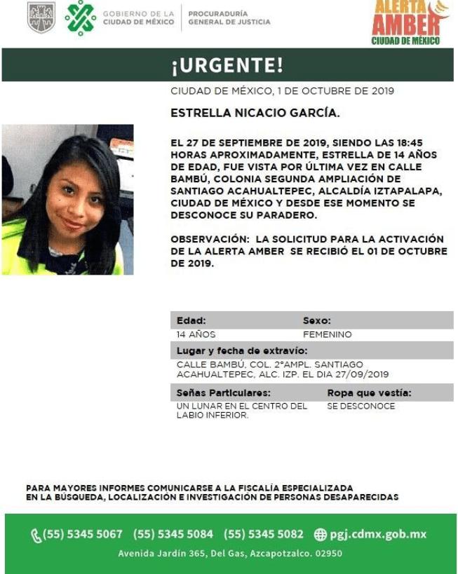 IMAGEN Se activa Alerta Amber por Estrella Nicacio García (PGJ CDMX)