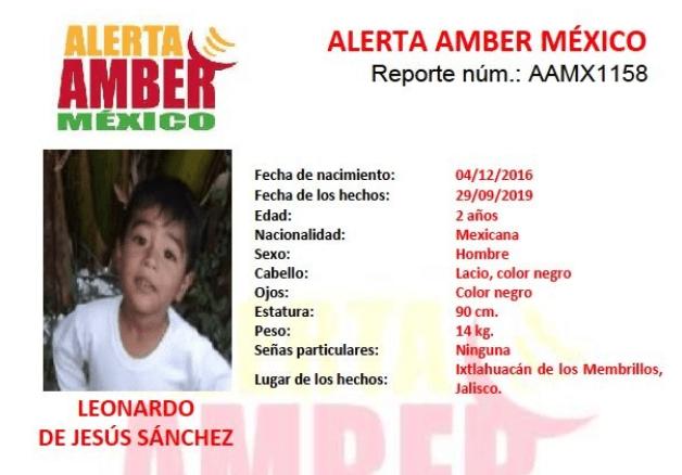 IMAGEN Alerta Amber por Leonardo de Jesús Sánchez (Twitter)