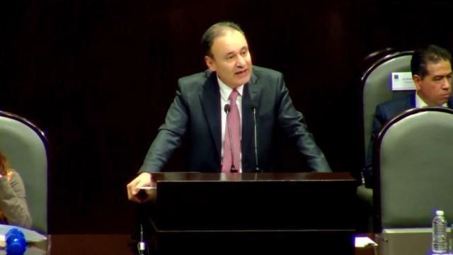 Foto: Alfonso Durazo, secretario de Seguridad Ciudadana, durante su comparecencia en la Cámara de Diputados, el 31 de octubre de 2019 (Noticieros Televisa)