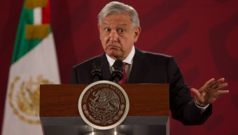 Andrés Manuel López Obrador, presidente de México durante conferencia de prensa Matutina en el Palacio Nacional.