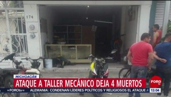 FOTO: Asesinan Cuatro Personas Taller Motos Sahuayo Michoacán
