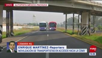 Caravana de transportistas avanza hacia caseta Pirámides, en autopista México-Pachuca