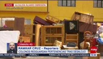 FOTO: Colonos resguardan pertenencias tras desalojo colonia Alfonso XIII,
