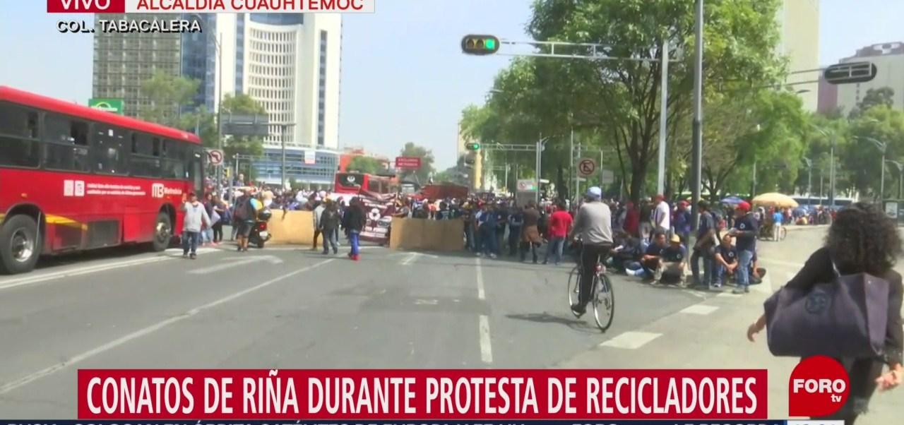 Conato de riña durante protesta de recicladores de basura en CDMX
