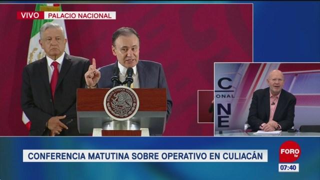Conferencia de AMLO sobre operativo en Culiacán
