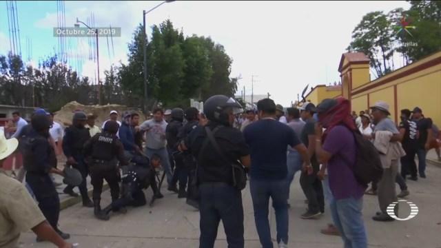 Foto: Conflicto Reconstrucción Escuela Tlacolula Oaxaca 29 Octubre 2019