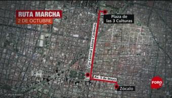 Foto: Ruta Marcha 2 Octubre CDMX Mañana 1 Octubre 2019