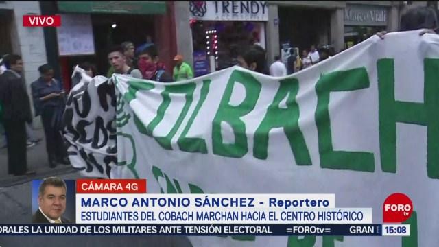 FOTO: Estudiantes Colegio Bachilleres marchan Centro Histórico