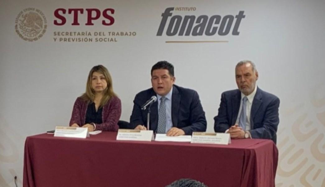 Foto: Alberto Ortiz, director General del Fonacot, en conferencia de prensa. Twitter/@Fonacot_oficial