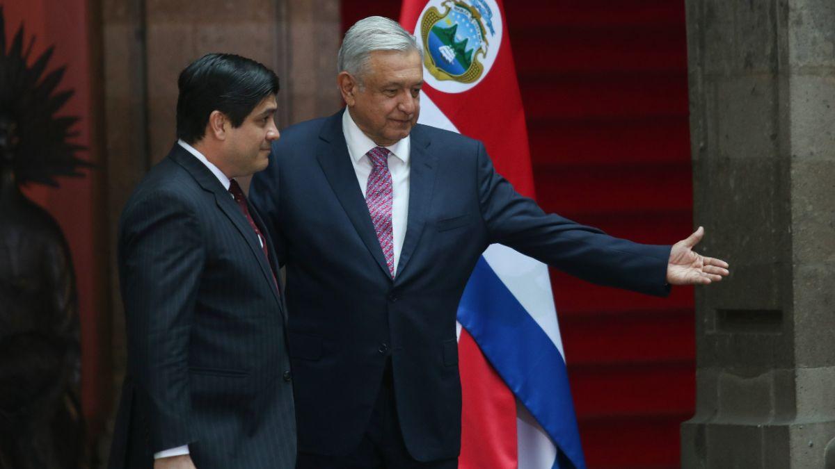 Foto: El presidente de México, Andrés Manuel López Obrador, recibe en Palacio Nacional a su par de Costa Rica, Carlos Andrés Alvarado. Reuters