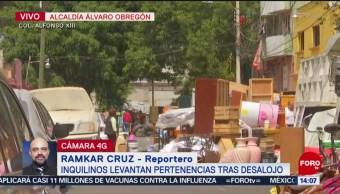 FOTO: Inquilinos levantan pertenencias tras desalojo CDMX