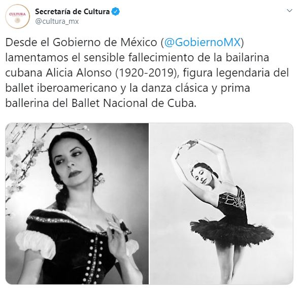 Foto Lamenta la Secretaría de Cultura la muerte de la bailarina Alicia Alonso