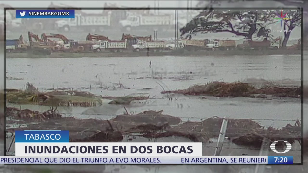 Lluvias inundan zona donde se va a construir refinería Dos Bocas