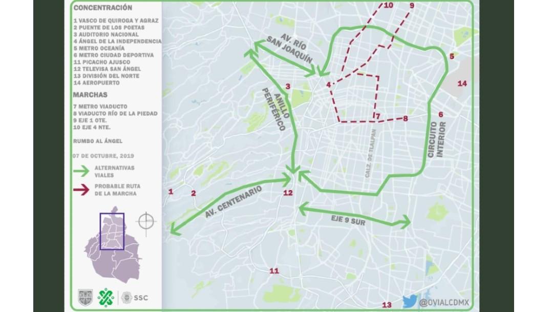 Foto: Mapa alternativas viales por bloqueos de taxistas. 7 de octubre de 2019
