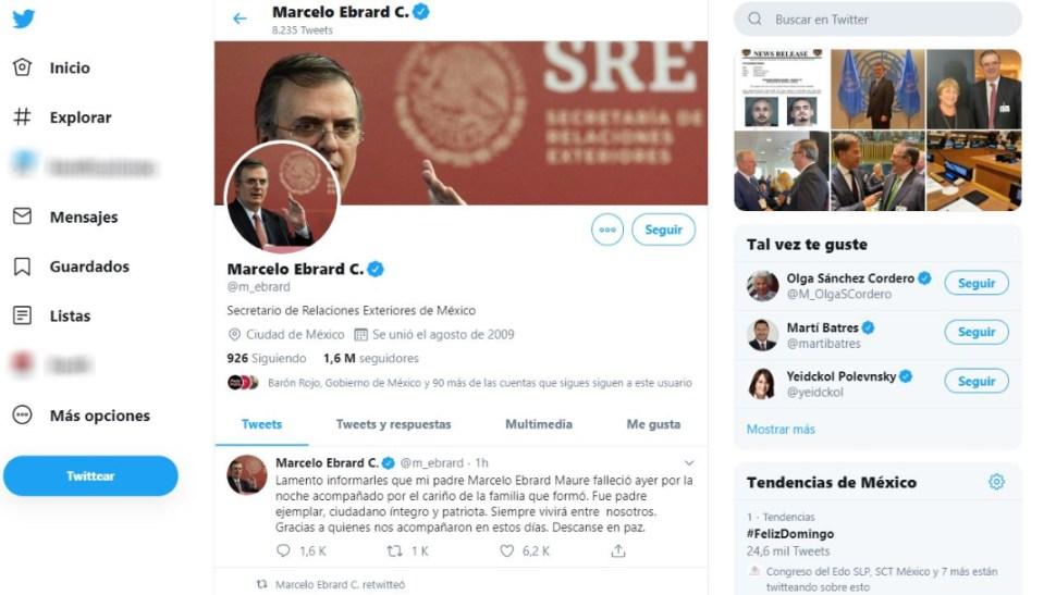 Muere el padre del secretario de Relaciones Exteriores, Marcelo Ebrard, 13 octubre 2019
