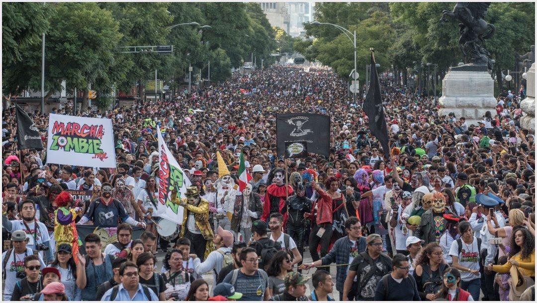 Foto: Así lucieron esta tarde las calles de CDMX tras ser invadidas por zombies, 19 de octubre de 2019 (MARIO JASSO /CUARTOSCURO.COM)