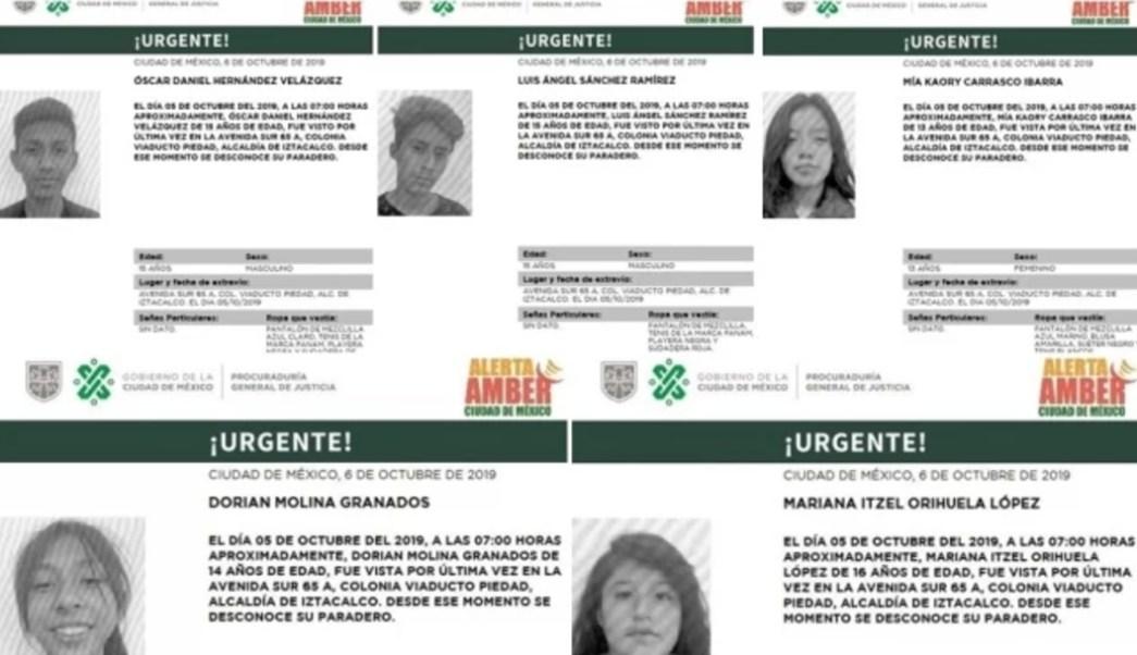 Cinco menores fueron reportados como desaparecidos, 06 octubre de 2019, (Alerta Amber)