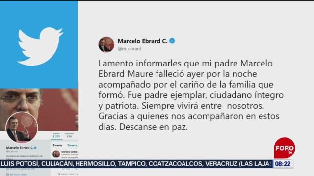 FOTO: Muere el padre del secretario de Relaciones Exteriores, Marcelo Ebrard, 13 octubre 2019