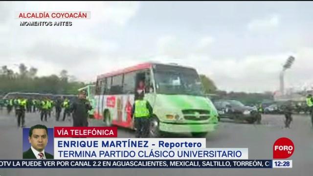 FOTO: Operativo tras partido entre Burros Blancos del IPN y Pumas CU en Ciudad Universitaria, 12 octubre 2019