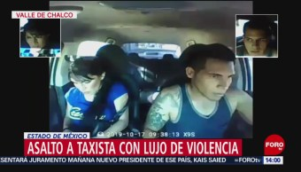 FOTO: Video Pareja asalta taxista Valle Chalco Edomex