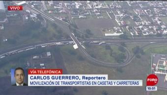 Patrullas bloquean paso de transportistas en la México-Pachuca