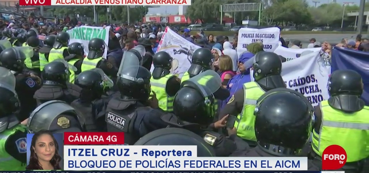 FOTO: Policías Federales Bloquen AICM,