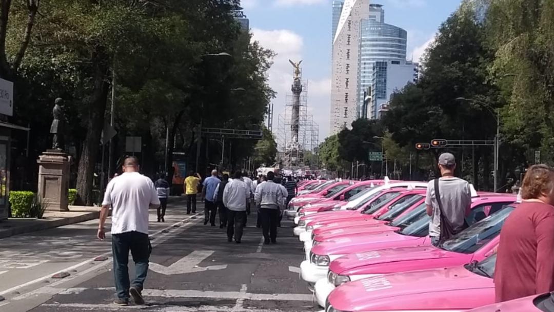 Foto: Ángel Morales recordó que estas afectaciones por el ingreso de empresas transnacionales a México empezaron hace cinco años y afectan a 700 mil taxistas a nivel nacional, 7 de octubre de 2019 (S. Servín)