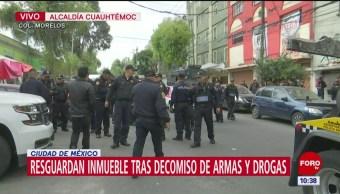 Resguardan inmueble tras operativo en Tepito