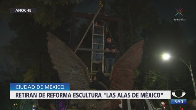 Retiran la escultura 'Las Alas de México' de Paseo de la Reforma