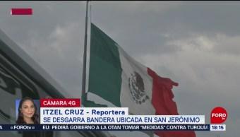 FOTO: Se desgarra bandera San Jerónimo CDMX,